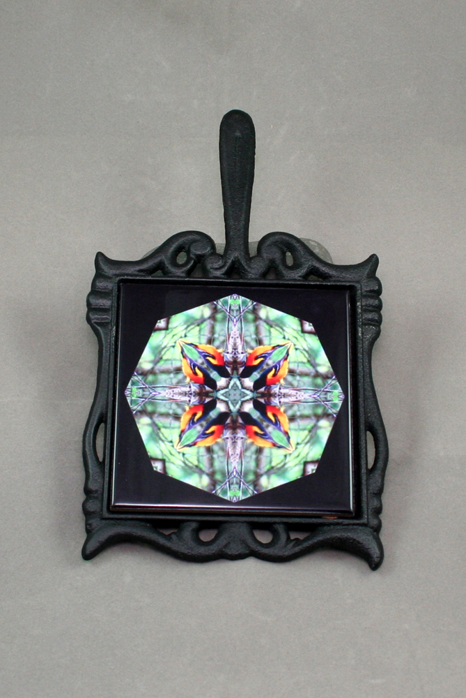 Oriole Cast Iron Ceramic Tile Trivet Sacred Geometry Mandala Kaleidoscope Ornament of Orange