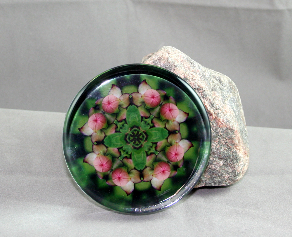 Pitcher Plant Flower Glass Paperweight Geometric Kaleidoscope Mandala Picture Perfect