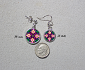 Earrings Dainty Tiny Double Sided Dangle Daisy Flower Mandala Jewelry Peaceful Ambiance
