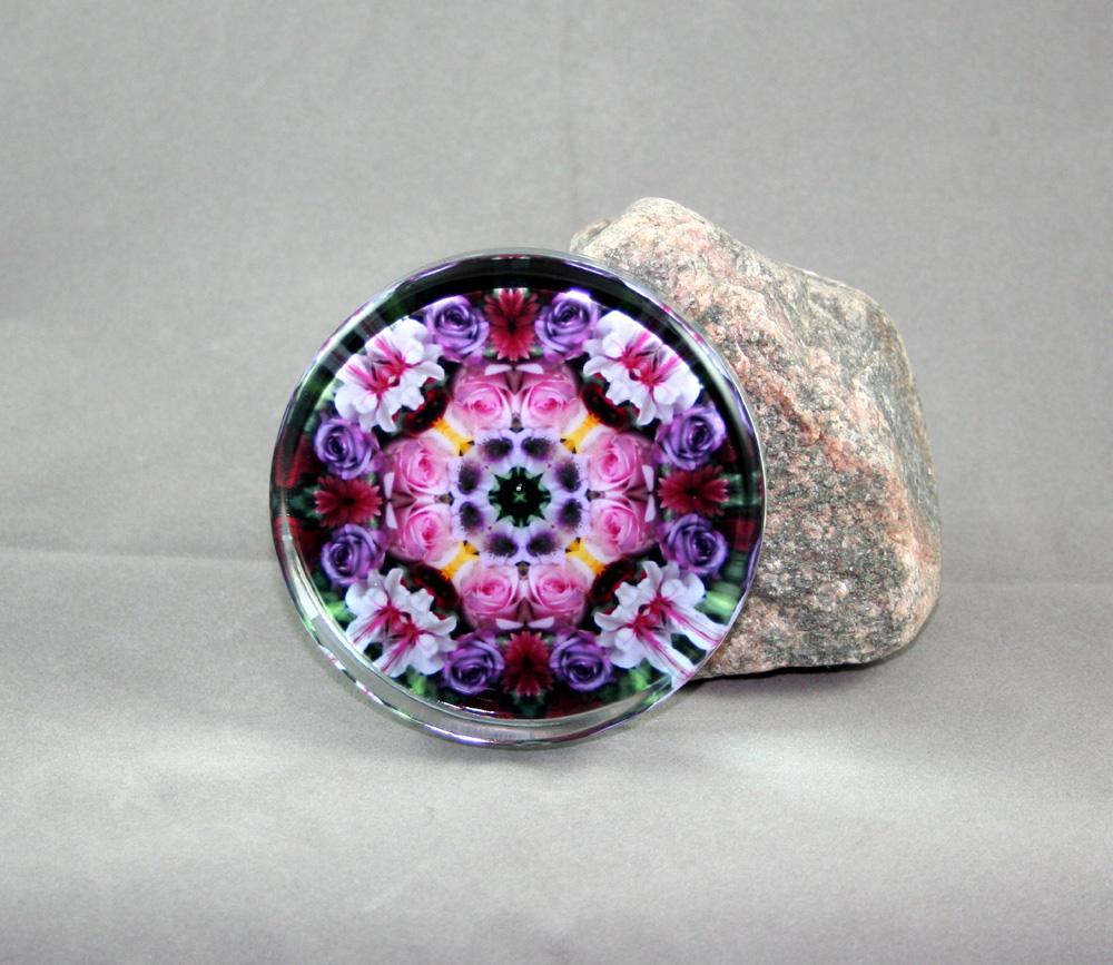 Rose Glass Paperweight Floral Mandala Kaleidoscope Petals of Poise