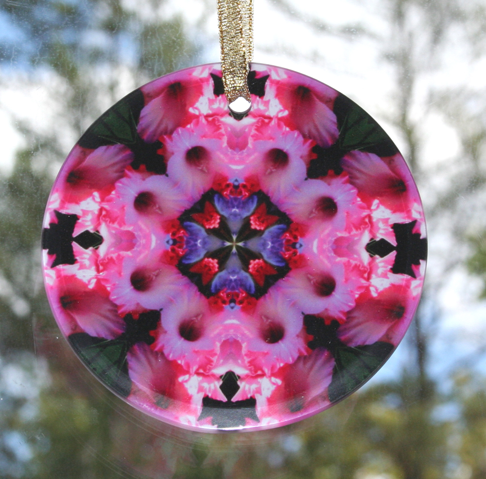 Gladiola Glass Suncatcher Mandala Kaleidoscope Geometric Pink Infatuation