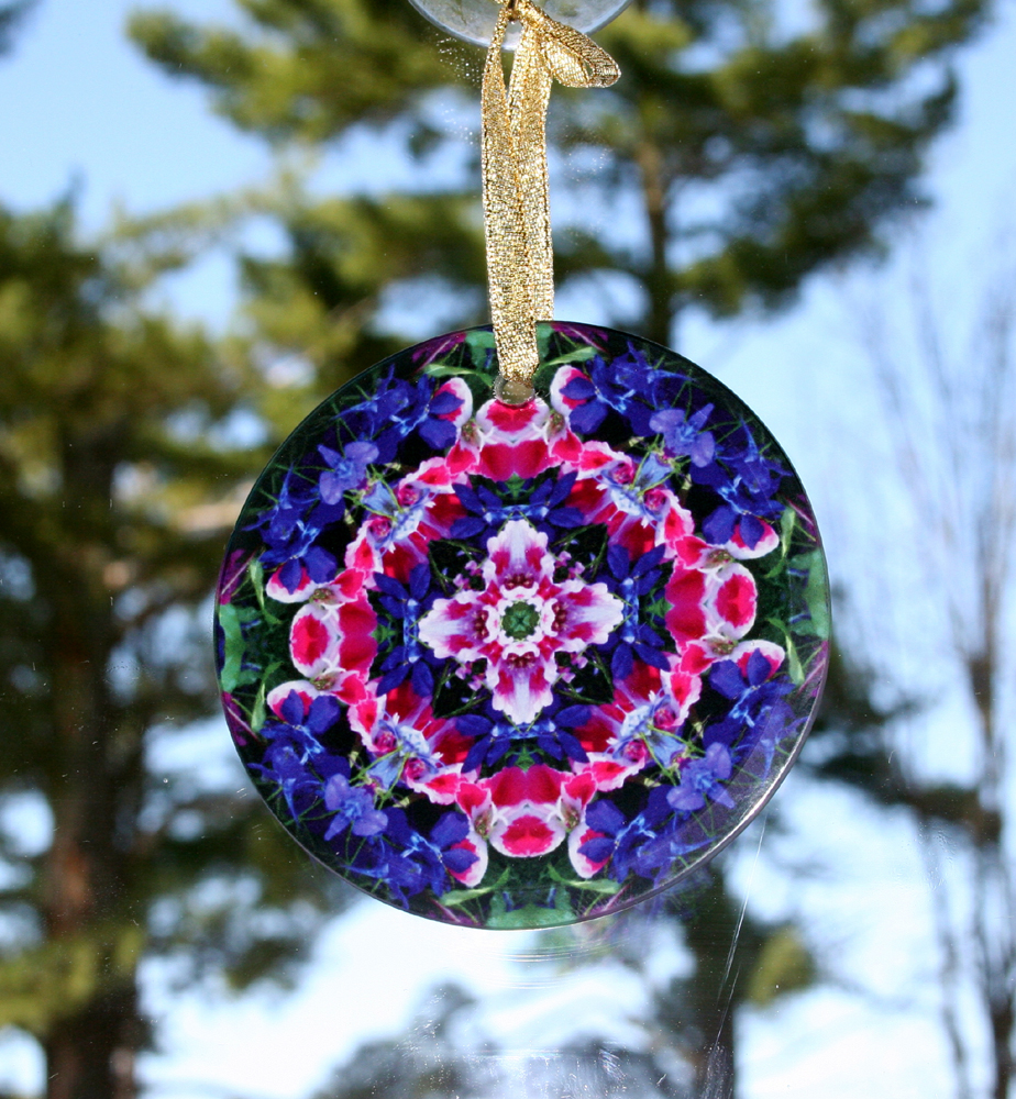 Wildflower Glass Suncatcher Geometric mandala Kaleidoscope Pink Providence
