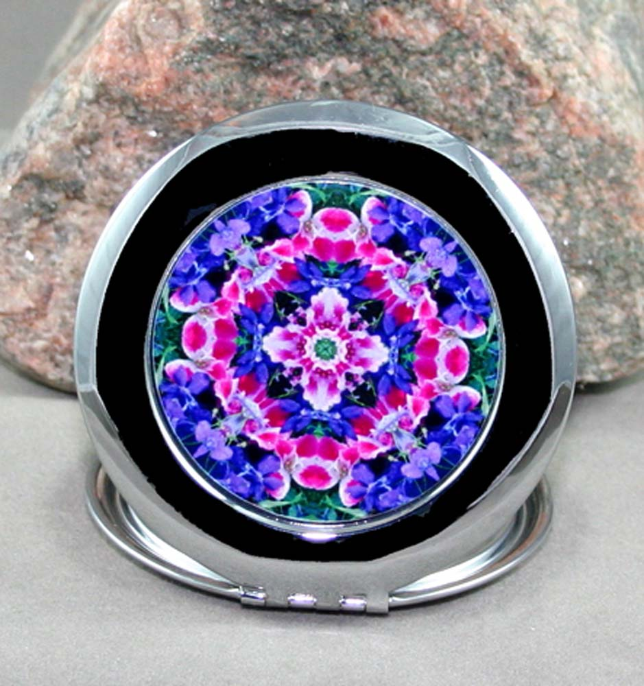 Floral Compact Mirror Sacred Geometry Mandala Kaleidoscope Pink Providence