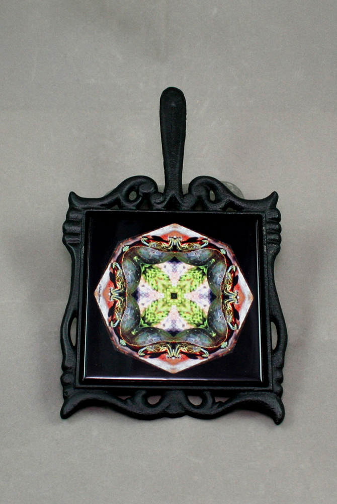 Turtle Cast Iron Ceramic Tile Trivet Sacred Geometry Mandala Kaleidoscope Poutin Painter
