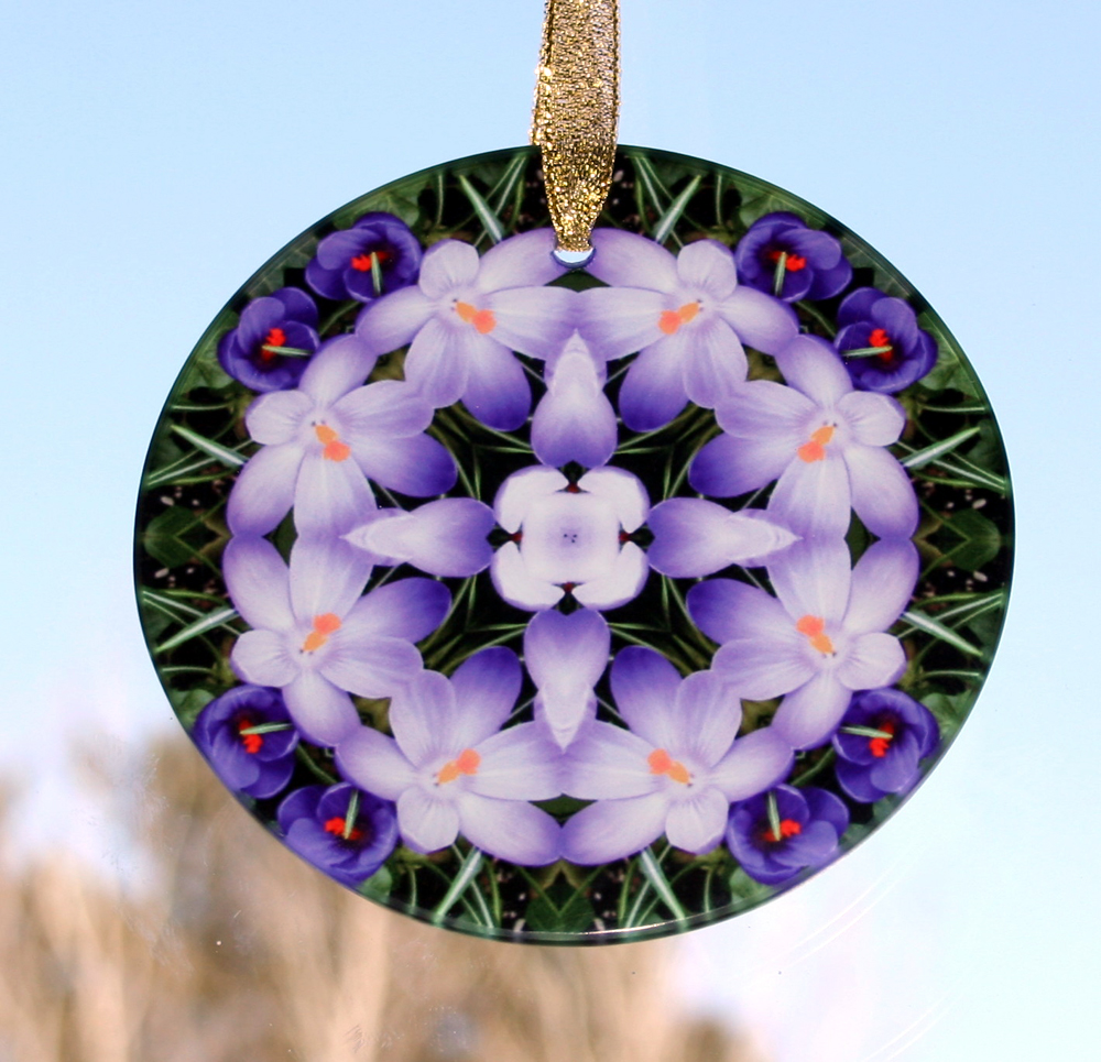Crocus Glass Sun catcher Sacred Geometry Mandala Kaleidoscope Prelude of Spring