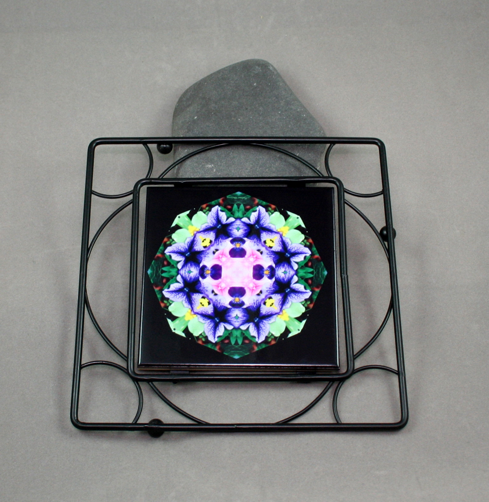 Petunia Carnation Black Iron Ceramic Tile Trivet Sacred Geometry Mandala Kaleidoscope Purple Passion