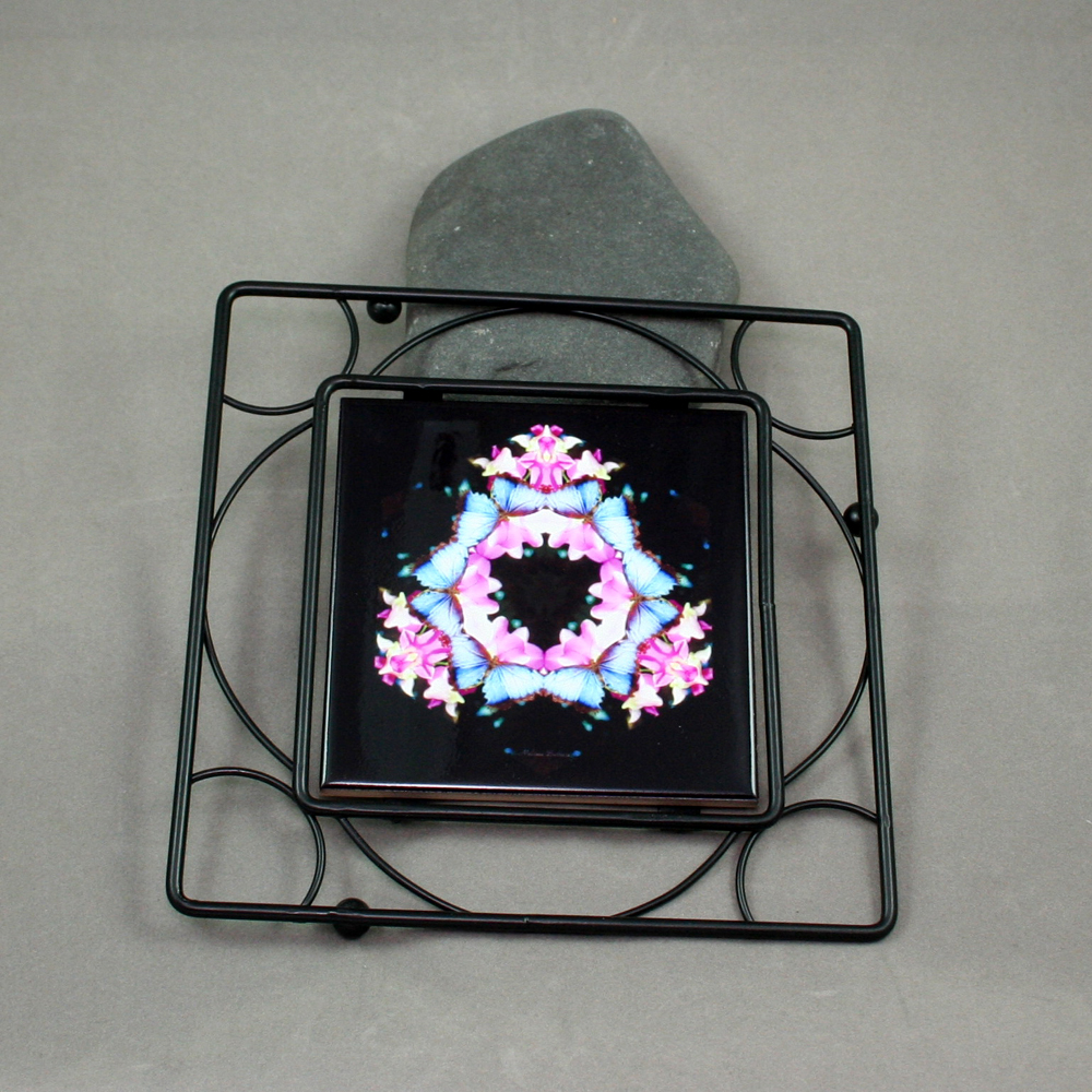 Butterfly Black Iron Ceramic Tile Trivet Sacred Geometry Mandala Kaleidoscope Sapphire Splendor