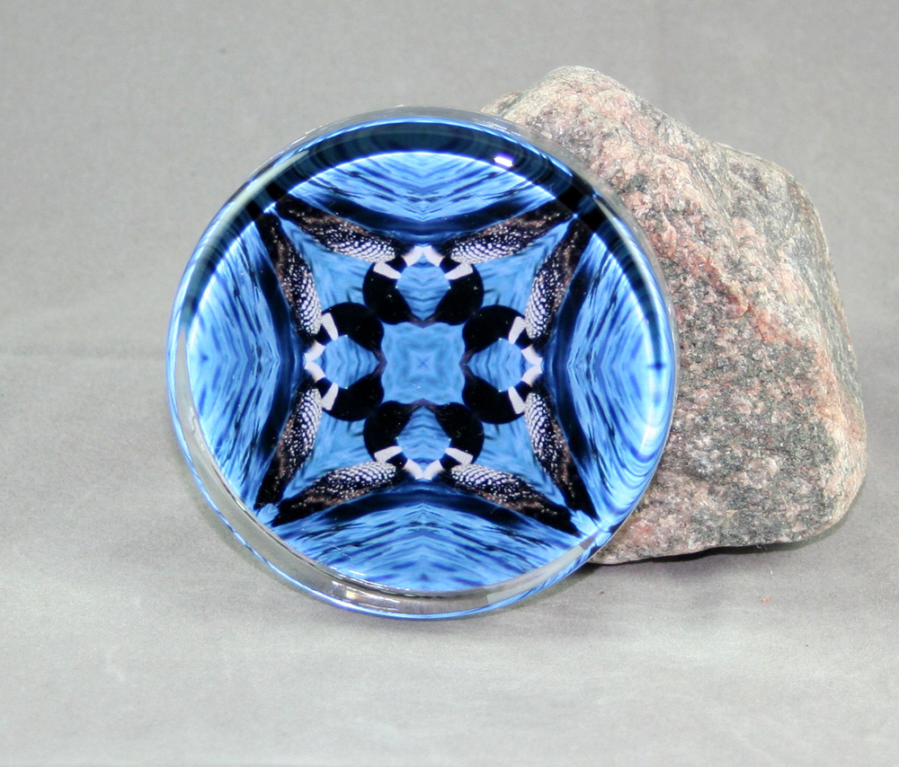 Loon Glass Paperweight Sacred Geometry Mandala Kaleidoscope Serene Serenade