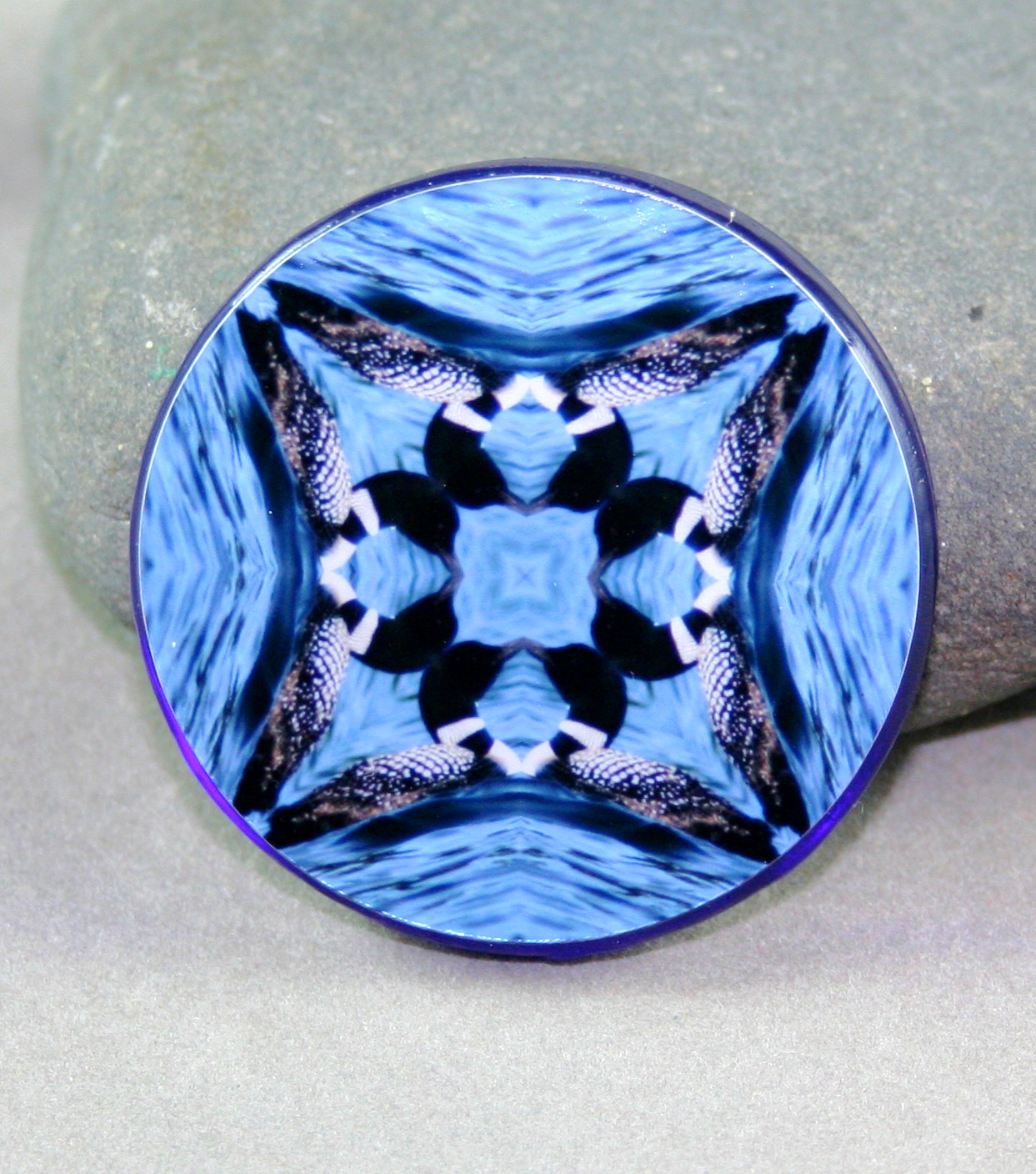 Loon Duck Magnet Glass Sacred Geometry Mandala Kaleidoscope Serene Serenade