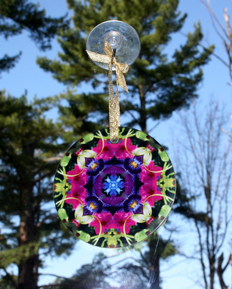 Petunia & Forget Me Not Flower Glass Suncatcher Kaleidoscope Mandala Serendipity