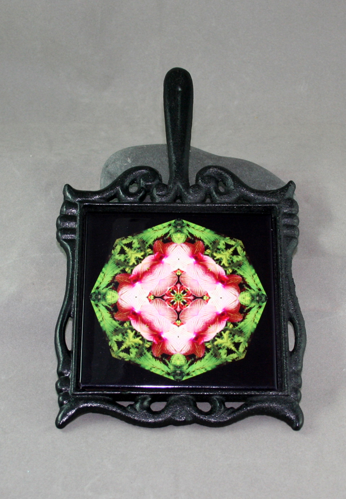 Orchid Cast Iron Ceramic Tile Trivet Sacred Geometry Mandala Kaleidoscope Simple Serenity