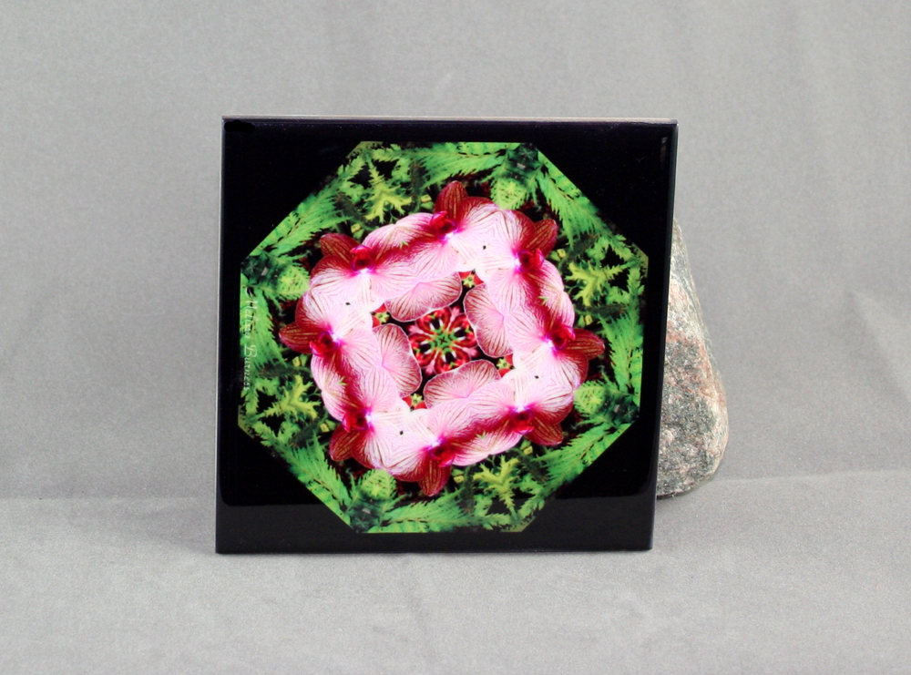 Orchid Decorative Ceramic Tile Coaster Trivet Geometric Kaleidoscope Simple Serenity