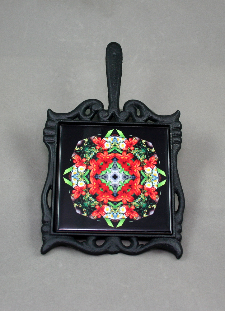 Lily Daisy Cast Iron Ceramic Tile Trivet Sacred Geometry Mandala Kaleidoscope Summer Dreams