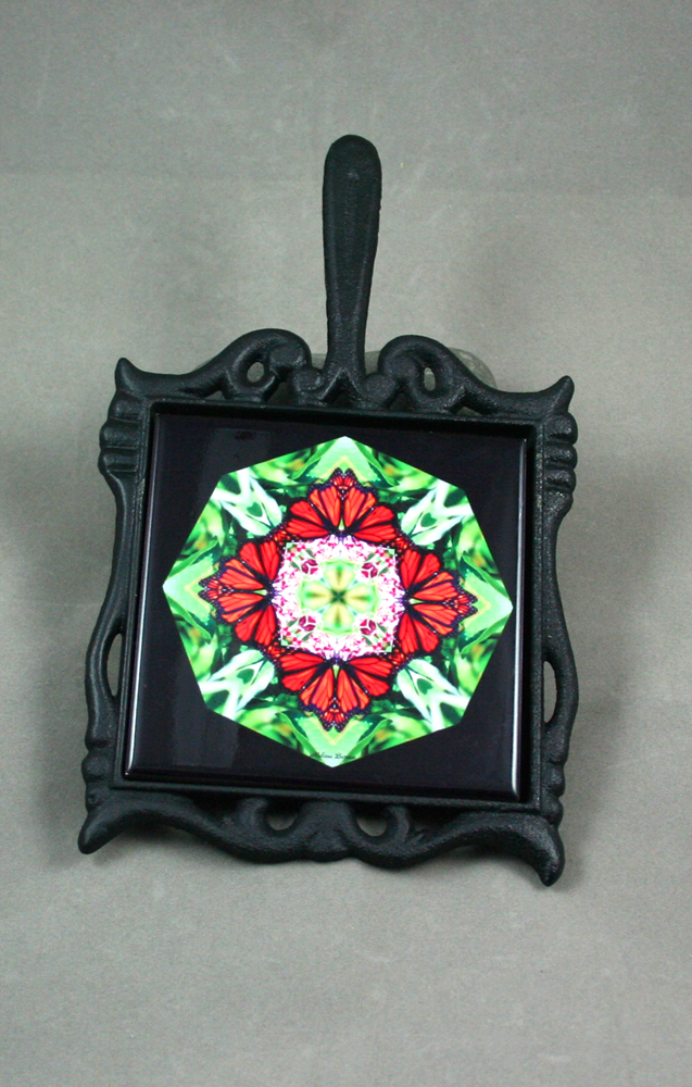 Butterfly Cast Iron Ceramic Tile Trivet Sacred Geometry Mandala Kaleidoscope Summer Sensation