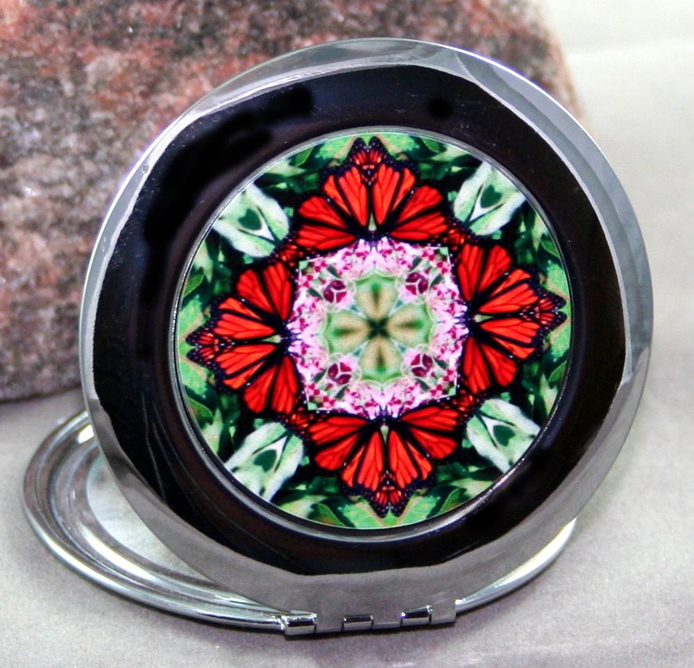 Monarch Butterfly Compact Mirror Sacred Geometry Mandala Kaleidoscope Summer Sensation
