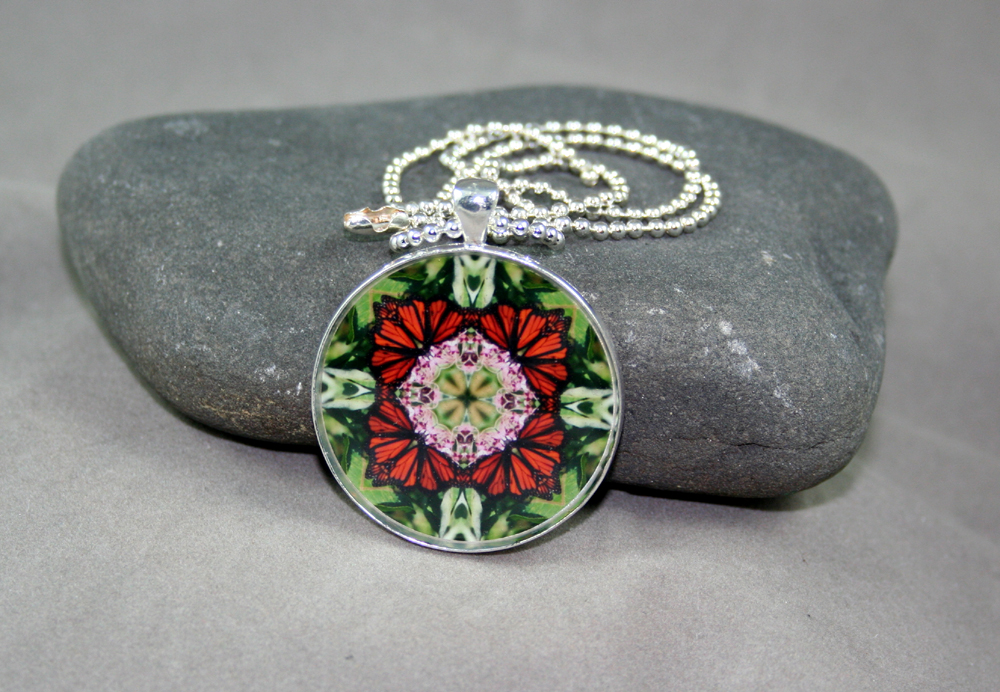 Monarch Butterfly Pendant Mandala necklace Kaleidoscope Geometric Summer Sensation