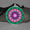 Bleeding Heart Pendant Necklace Mandala Chakra Zen Sacred Geometry Kaleidoscopic Tantalizing Temptation