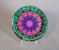 Glass Paperweight Bleeding Heart Mandala Zen Sacred Geometry Kaleidoscopic Tantalizing Temptation