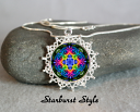 Rainbow Rose Mandala Pendant Flower Border Boho Chic Sacred Geometry Zen Hippie Kaleidoscope Unique Gift For Her New Age Open Heart