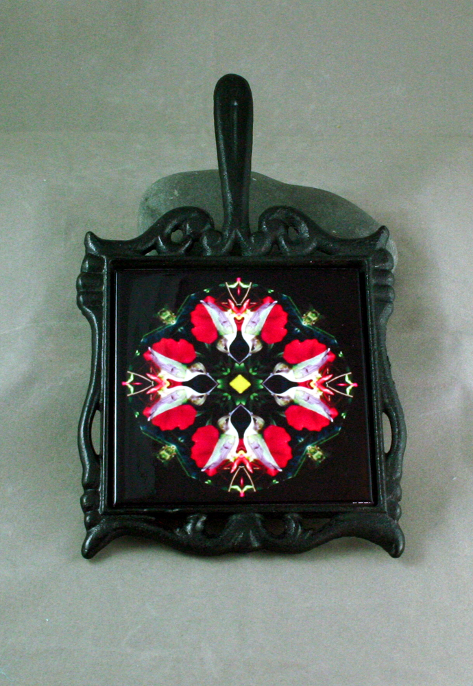 Hummingbird Cast Iron Ceramic Tile Trivet Sacred Geometry Mandala Kaleidoscope Tiny Dancer