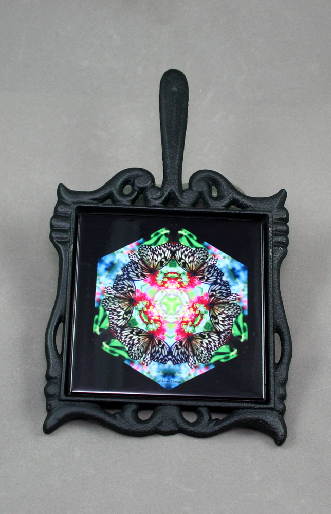 Butterfly Cast Iron Ceramic Tile Trivet Sacred Geometry Mandala Kaleidoscope Tropical Treasure