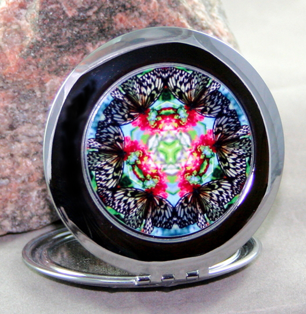Butterfly Compact Mirror Sacred Geometry Mandala Kaleidoscope Tropical Treasure