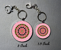 Breast Cancer Pink Flower Bag Purse Charm Key Chain Custom Keychain Sacred Geometry Mandala Jewelry a