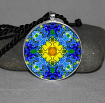 Forget Me Not Pendant Necklace Mandala Chakra Zen Sacred Geometry Kaleidoscopic Unforgettable