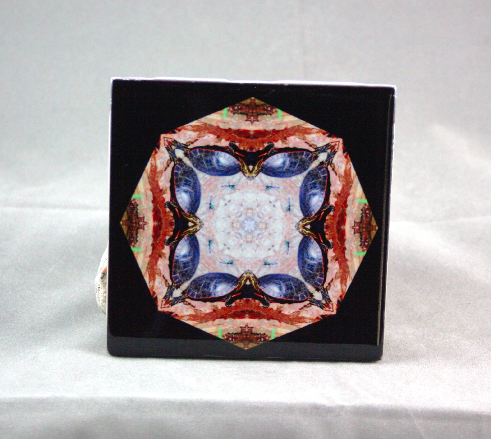 Turtle Decorative Ceramic Tile Coaster Geometric Kaleidoscope Utopia