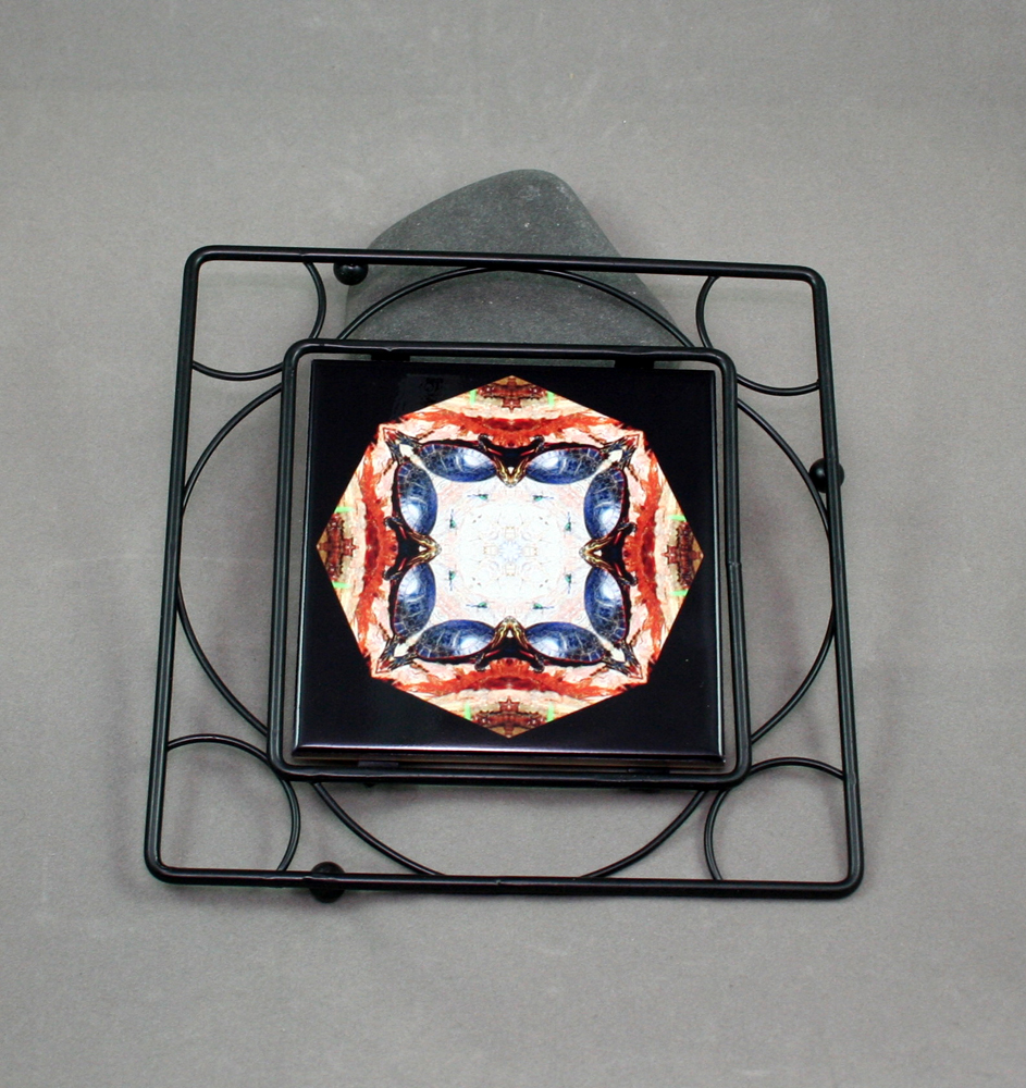 Turtle Black Iron Ceramic Tile Trivet Sacred Geometry Mandala Kaleidoscope Utopia