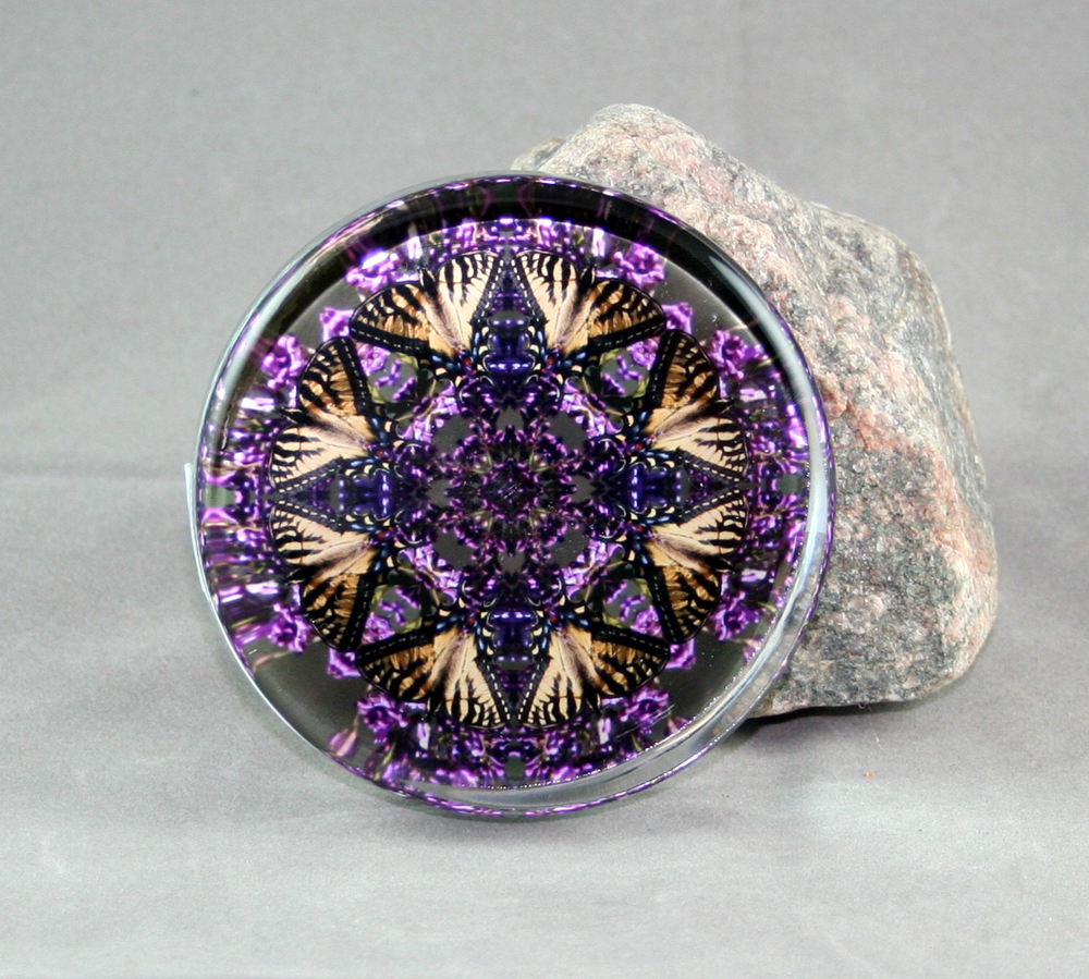 Butterfly Lilac glass paperweight Geometric Mandala Kaleidoscope Wafting Spirit