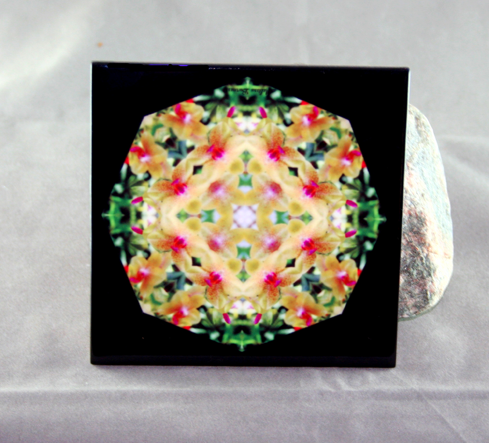 Orchid Decorative Ceramic Tile Coaster Trivet Geometric Kaleidoscope Whimsical Grace