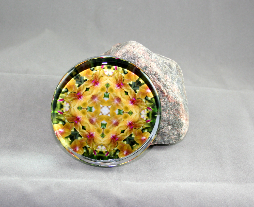 Orchid Glass Paperweight Geometric Kaleidoscope Mandala Whimsical Grace