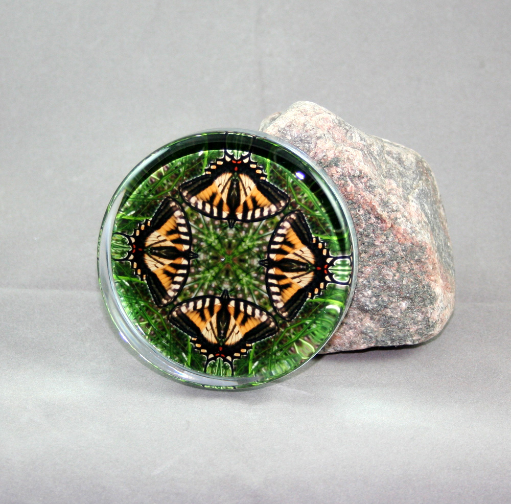 Yellow Butterfly Glass Paperweight Sacred Geometry Mandala Kaleidoscope Wind Whisperer