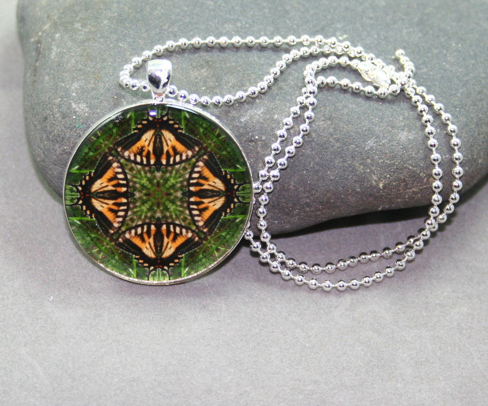 Butterfly Necklace geometric kaleidoscope mandala Wind Whisperer
