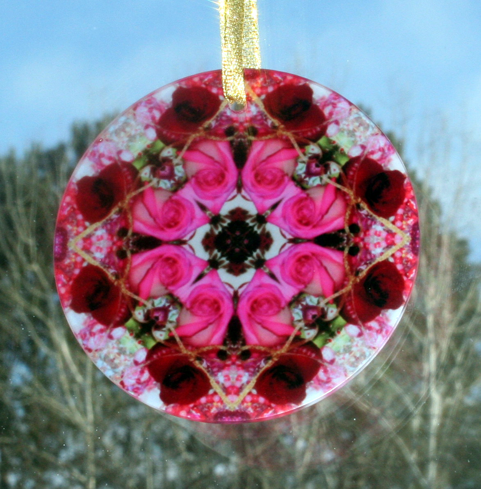 Rose Glass Suncatcher Kaleidoscope Mandala Geometric Winter Romance