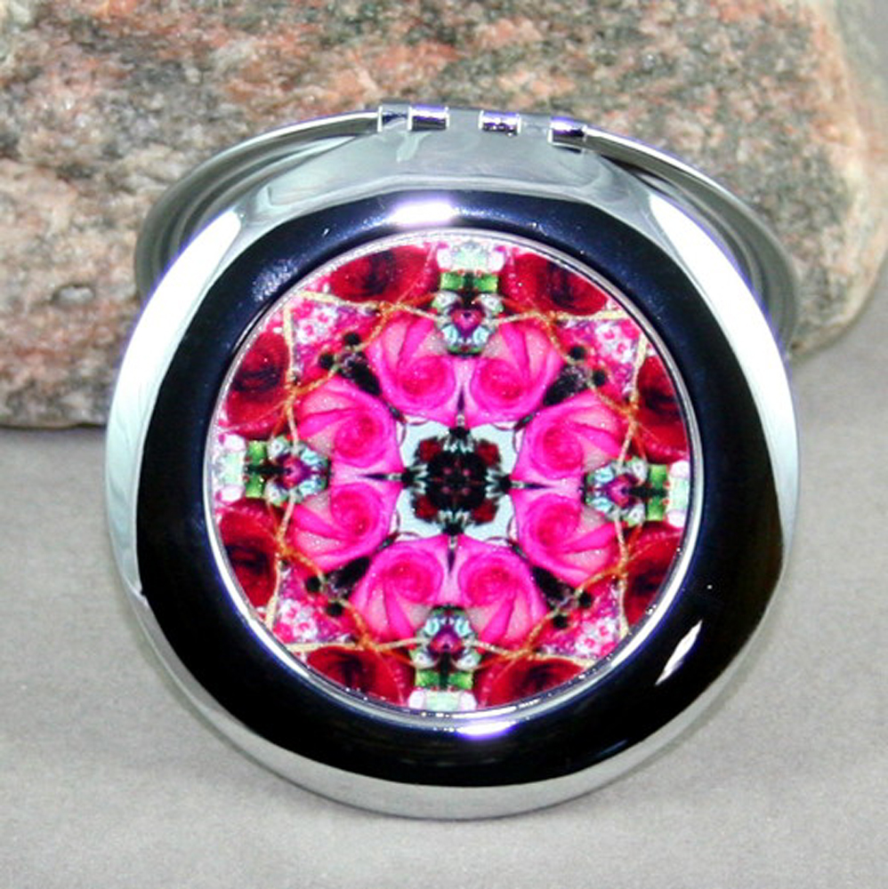 Rose Compact Mirror Sacred Geometry Mandala Kaleidoscope Winter Romance