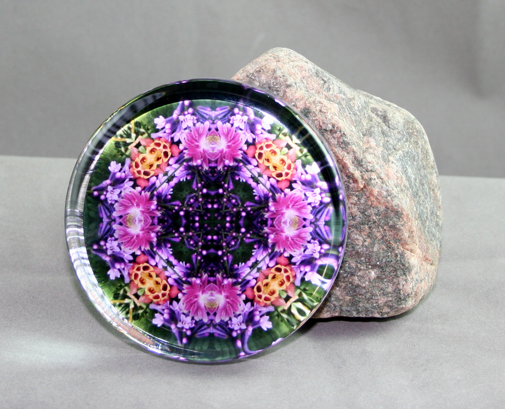 Lilac & Columbine Glass Paperweight Mandala Kaleidoscope Geometric Wonderfully Wild