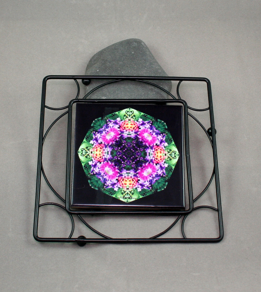 Lilac Columbine Black Iron Ceramic Tile Trivet Sacred Geometry Mandala Kaleidoscope Wonderfully Wild