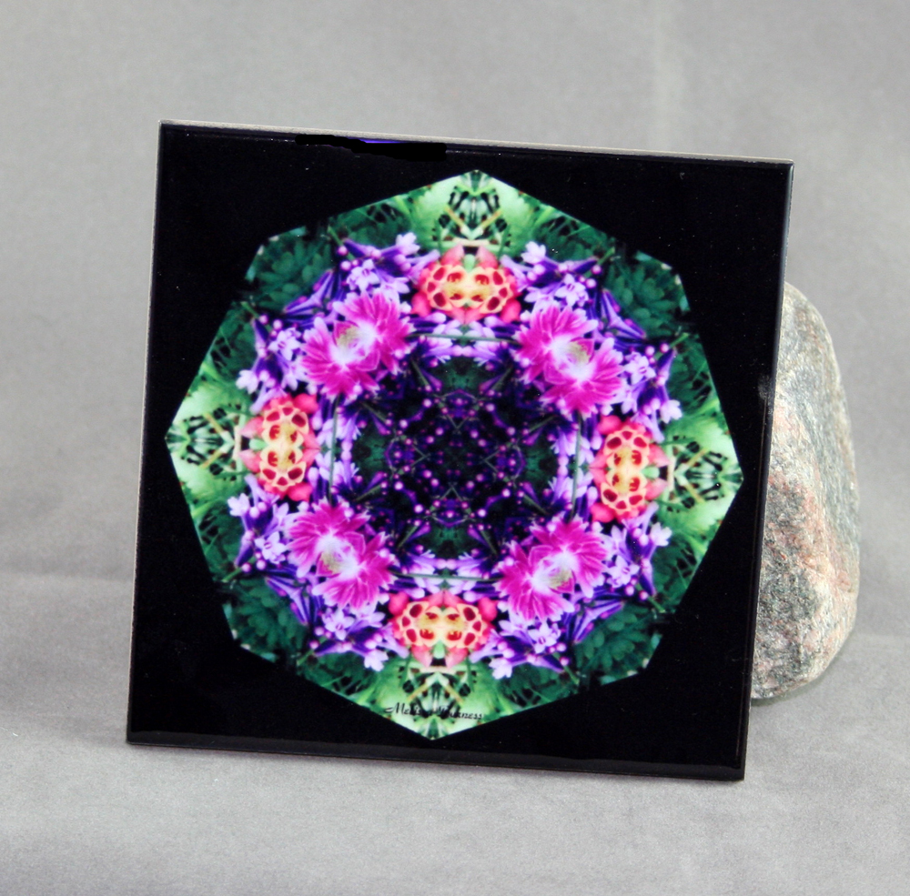 Lilac Columbine Decorative Ceramic Tile Coaster Geometric Kaleidoscope Wonderfully Wild