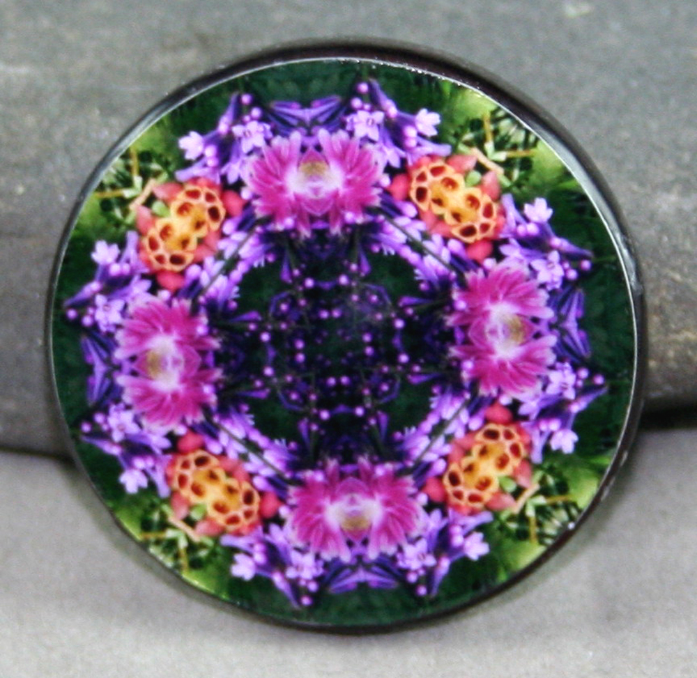Lilac Columbine Floral Glass Magnet Mandala Kaleidoscope Geometric Wonderfully Wild