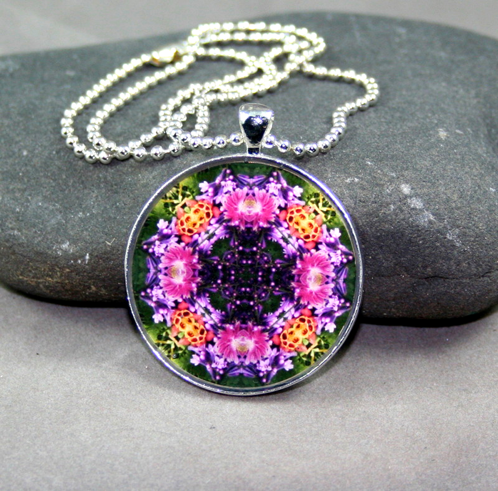Lilac & Columbine Necklace Geometric Kaleidoscope Mandala Wonderfully Wild