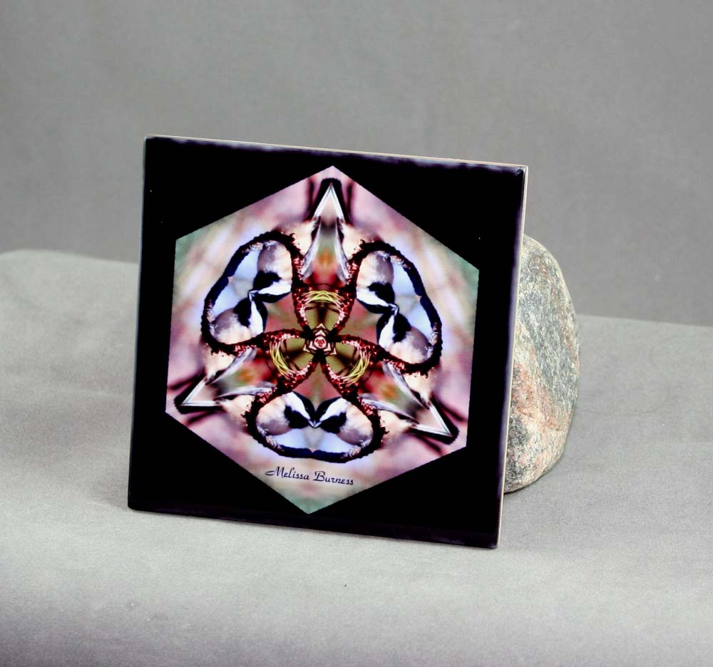 Chickadee Decorative Ceramic Tile Coaster Geometric Kaleidoscope Chipper Chickadee