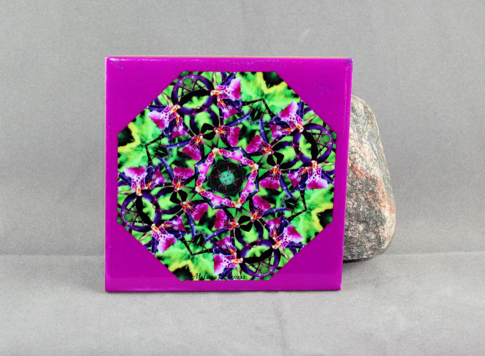Orchid Decorative Ceramic Tile Coaster Trivet Geometric Kaleidoscope Magenta Madness