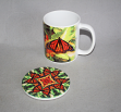 Mug Coffee Tea Hot Chocolate Unique Cute Monarch Butterfly With Coaster Gift Set Free Spirit