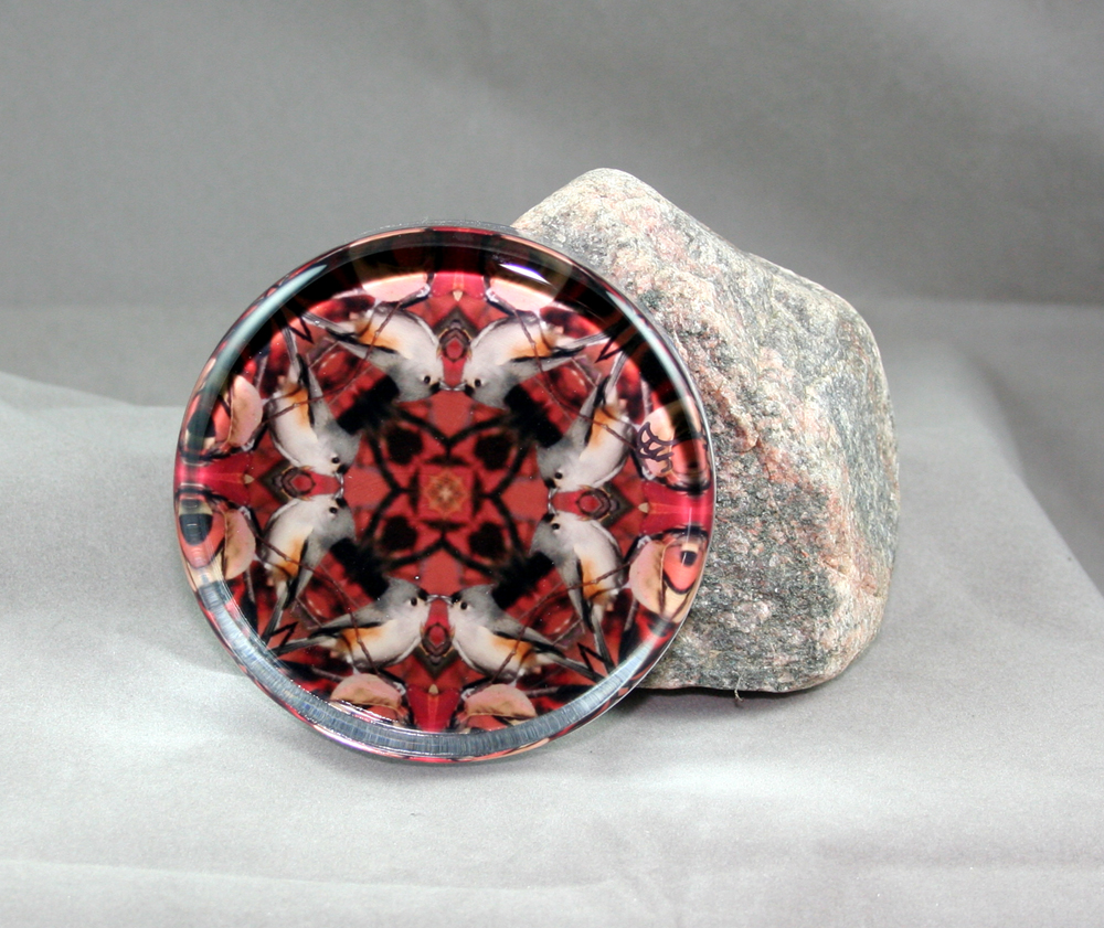 Tufted Titmouse Glass Paperweight Kaleidoscope Sacred Geometry Mandala Positively Perky