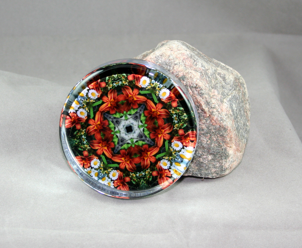 Lily Daisy Glass Paperweight Geometric Kaleidoscope mandala Summer Dreams