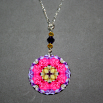 Rose Charm Necklace Boho Chic Mandala New Age Sacred Geometry Hippie Kaleidoscope A Fanciful Fondness