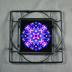 Hyacinth Trivet Black Iron Ceramic Tile Mandala Sacred Geometry Kaleidoscope Frolicking Flora