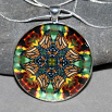 Butterfly Pendant Necklace Boho Chic Mandala New Age Sacred Geometry Kaleidoscope Celestial Chi